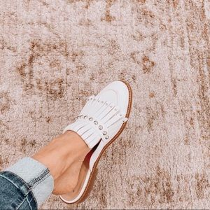 A NEW DAY white studded flat backless loafers